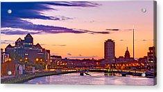 Acrylic Print featuring the photograph Dublin Skyline At Dusk / Dublin by Barry O Carroll