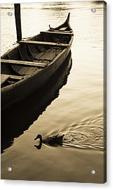Duck And Boat Acrylic Print by Sonny Marcyan