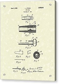 Duck Call 1951 Patent Art Acrylic Print by Prior Art Design