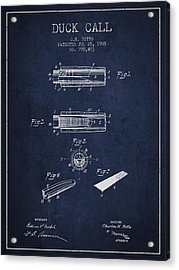 Duck Call Instrument Patent From 1905 - Navy Blue Acrylic Print