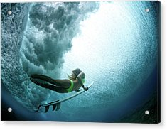 Duck Dive From Beneath The Water Acrylic Print by Richinpit
