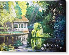 Acrylic Print featuring the painting Duck Pond Stephens Green  Park Dublin by Paul Weerasekera