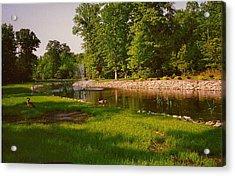 Acrylic Print featuring the photograph Duck Pond With Water Fountain by Amazing Photographs AKA Christian Wilson