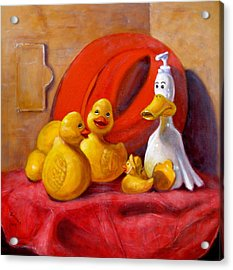 Duck Soap With Red Hat Acrylic Print