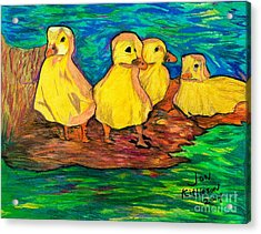 Ducklings Out By The Water Acrylic Print