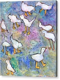 Acrylic Print featuring the mixed media Ducks by Catherine Redmayne