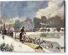 Ducks In The Bois De Boulogne Acrylic Print by Emile Antoine Guillier