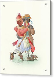 Ducks On Skates 02 Acrylic Print by Kestutis Kasparavicius