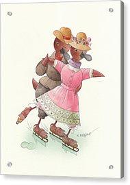 Ducks On Skates 03 Acrylic Print by Kestutis Kasparavicius