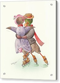 Ducks On Skates 05 Acrylic Print by Kestutis Kasparavicius