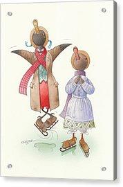 Ducks On Skates 06 Acrylic Print by Kestutis Kasparavicius