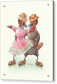 Ducks On Skates 07 Acrylic Print by Kestutis Kasparavicius