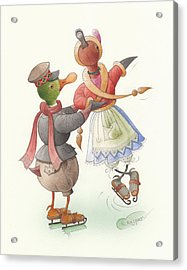 Ducks On Skates 08 Acrylic Print by Kestutis Kasparavicius