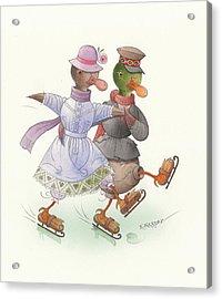 Ducks On Skates 10 Acrylic Print by Kestutis Kasparavicius