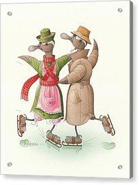 Ducks On Skates 11 Acrylic Print by Kestutis Kasparavicius