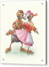 Ducks On Skates 12 Acrylic Print by Kestutis Kasparavicius