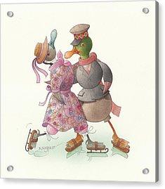 Ducks On Skates 14 Acrylic Print by Kestutis Kasparavicius