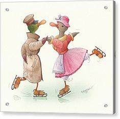 Ducks On Skates 17 Acrylic Print by Kestutis Kasparavicius