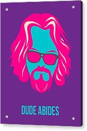 Dude Abides Purple Poster Acrylic Print by Naxart Studio