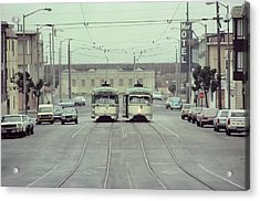 Acrylic Print featuring the photograph N Judah Dueling Streetcars.  End Of Judah Street.  1970s. by John King