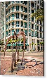 Duenos Do Las Estrellas Sculpture - Downtown - Miami - Hdr Style Acrylic Print by Ian Monk