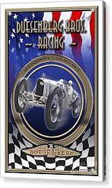 Acrylic Print featuring the photograph Duesenberg Bros. Racing by Ed Dooley