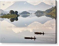Dugout Canoe Floating On Lake Mutanda Acrylic Print
