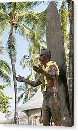 Duke Kahanamoku Statue Acrylic Print by Brandon Tabiolo