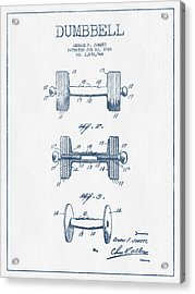 Dumbbell Patent Drawing From 1927  -  Blue Ink Acrylic Print