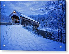 Dummerston Bridge In Winter Acrylic Print by Tom Singleton