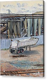Acrylic Print featuring the painting Dump Truck Bin And Steel Mill by Asha Carolyn Young
