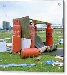 Dumped Gas Canisters Acrylic Print