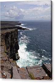 Dun Aengus Cliffs Acrylic Print by Keith Stokes