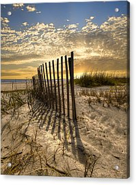 Dune Fence At Sunrise Acrylic Print by Debra and Dave Vanderlaan