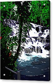 Dunns River Falls Jamaica Acrylic Print by MOTORVATE STUDIO Colin Tresadern