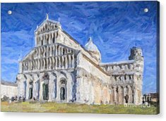 Duomo And Leaning Tower Pisa Italy Acrylic Print