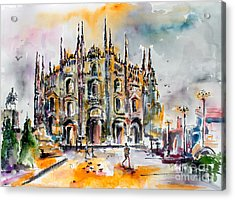 Acrylic Print featuring the painting Duomo Milan Italy by Ginette Callaway