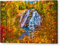 Dupont Forest High Falls In Autumn Acrylic Print