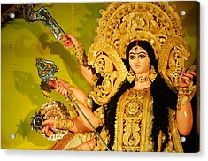 Durga Idol Acrylic Print by Money Sharma