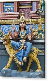 Durga Statue On Hindu Gopuram Acrylic Print by Tim Gainey