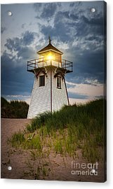 Dusk At Covehead Harbour Lighthouse Acrylic Print by Elena Elisseeva