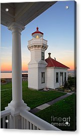 Dusk At Mukilteo Lighhouse Acrylic Print by Inge Johnsson