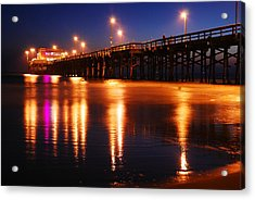 Acrylic Print featuring the photograph Dusk At Newport Pier by James Kirkikis