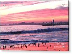 Dusk At Santa Cruz Harbor Acrylic Print by Theresa Ramos-DuVon
