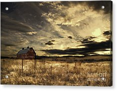 Acrylic Print featuring the photograph Dusk At The Red Barn by Kristal Kraft