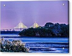 Dusk At The Skyway Bridge Acrylic Print