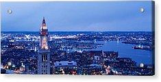 Dusk Boston Massachusetts Usa Acrylic Print by Panoramic Images