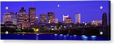 Dusk Charles River Boston Ma Usa Acrylic Print by Panoramic Images