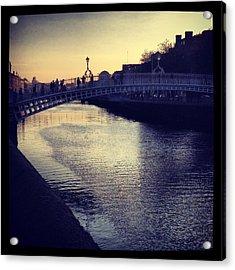 Dusk Haypenny Bridge Dublin Acrylic Print by Maeve O Connell