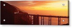 Dusk Hwy 1 W Bixby Bridge Big Sur Ca Usa Acrylic Print by Panoramic Images